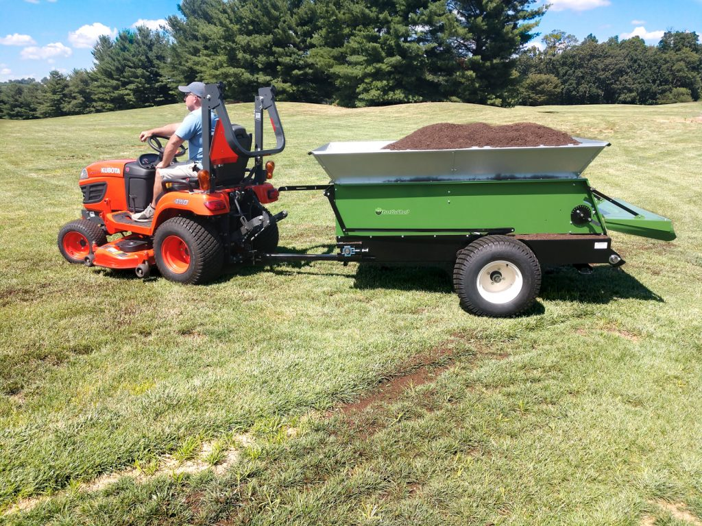 with compost earth and turf multispread 320 topdresser for landscapers municipalities schools universities